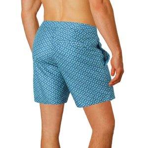 tailored fit blue printed swim trunks boto