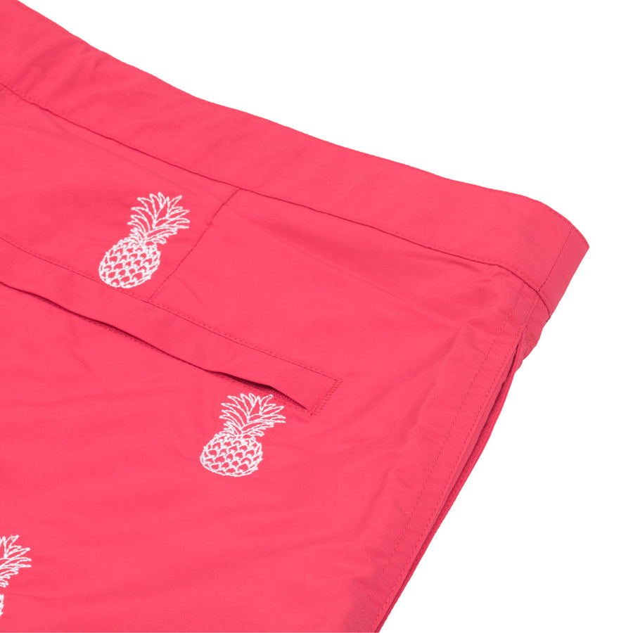 "Aruba 6.5"" Coral Embroidered Pineapples Swim Trunks"