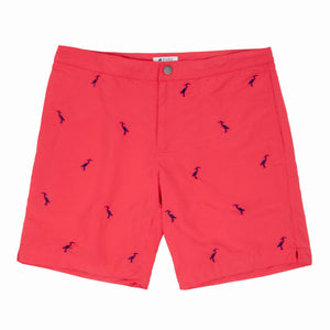 coral red embroidered herons swim suit boto