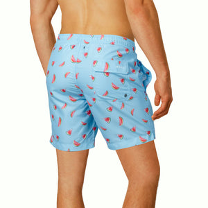 "Cabo 6.5"" Sky Blue Watermelons Swim Trunks"