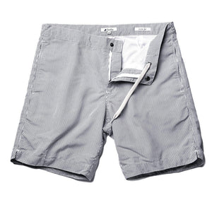 "Aruba 8.5"" Striped Anchor Gray Swim Trunks"