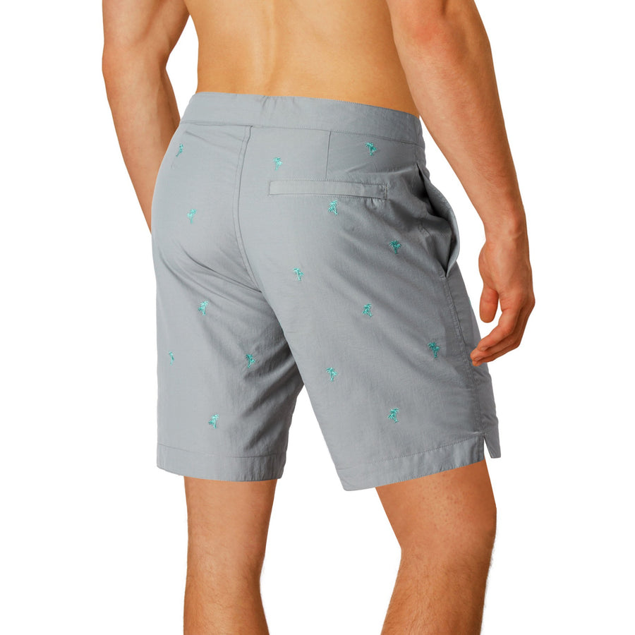 "Aruba 8.5"" Grey Embroidered Palm Trees Swim Trunks"