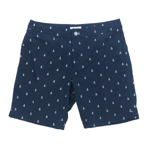 "Aruba 8.5"" Navy Embroidered Anchors Swim Trunks"