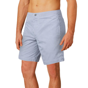 striped grey swim trunks
