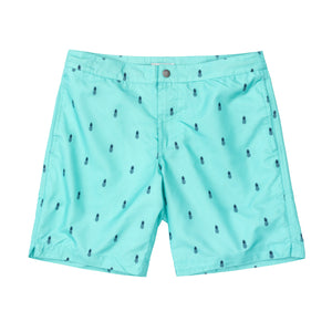 "Aruba 8.5"" Turquoise Pineapples Swim Trunks"