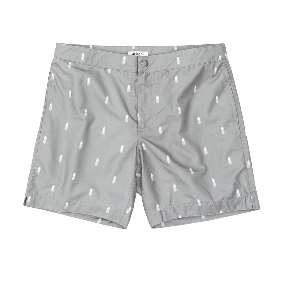Tailored fit grey pineapple print swim trunks