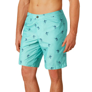 "Aruba 8.5"" Turquoise Marlins Swim Trunks"