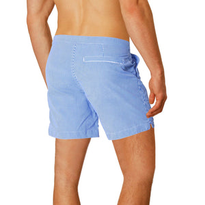 "Rio 6.5"" Striped Blue w. Boto Pouch Lining Swim Trunks"