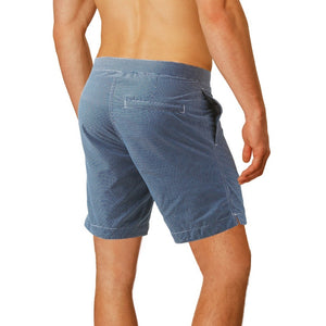 "Aruba 8.5"" Micro Checks Ash Blue Swim Trunks"