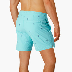 bright turquoise embroidered palm trees swim shorts