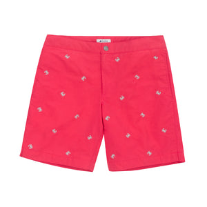 mens coral red swimwear