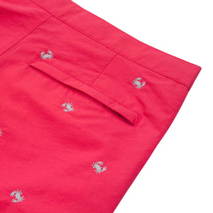coral red embroidered crabs swim trunks boto