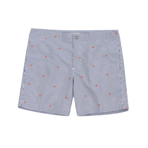 grey striped embroidered palm tree swim trunks