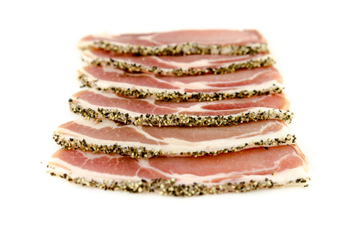 Black Pepper Dry Cured Plain Bacon. 6 Slices per Pack 250g approx