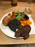 Bar B Q lamb, salad, jacket potato and our delicious Black pudding. Another great way to enjoy our Black pudding.