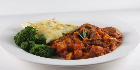 Classic Lamb stew with mashed potato and broccoli