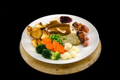 Classic Roast turkey, pigs in blankets, vegetables, potatoes & gravy