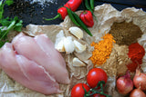 All the ingredients that go into our Chicken Jalfrezi.