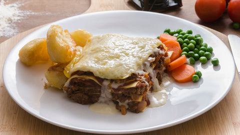Lasagne: Beef, Tomato, Milk, Onion, Pasta: (Wheat, Egg), Carrots , Cheddar Cheese (Milk), Worcestershire Sauce: (Malt, Vinegar, (Barley), Spirit Vinegar, Molasses, Sugar, Salt, Anchoives (Fish), Tamarind extract, Onion, Garlic, Spice, Flavourings), Wine (Sulphites), Tomato Puree, Parmesan Cheese (Milk), Wheatflour, Butter (Milk), Garlic, Black Pepper, Salt, Oregano, Diced Potato, Peas, Sweet Corn.