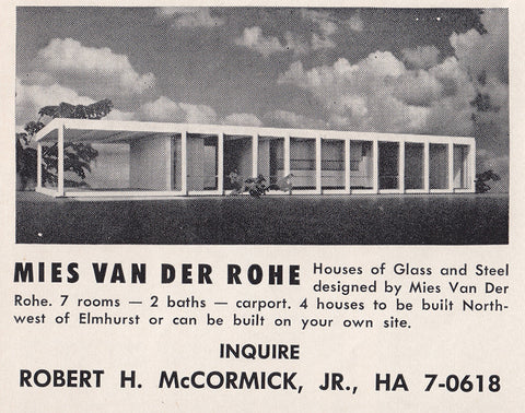 Postcard, Mies van der Rohe, Advertisement for Bensenville Houses, c. 1955