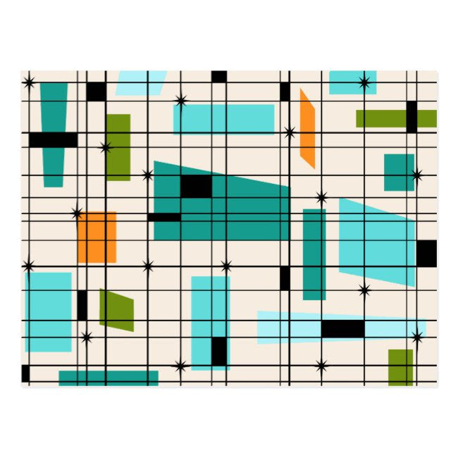 Postcard Mid Century Modern Grid and Starbursts Design