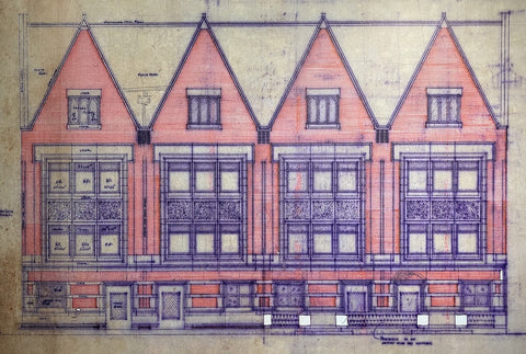 Frank Lloyd Wright:  Postcard - Roloson Row Houses