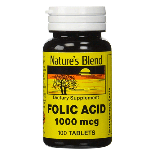 Nature's Blend - Folic Acid - 1000mg - 100 tabs