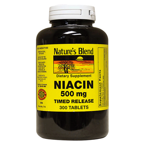 Nature's Blend - Niacin Timed Release - 500mg - 300 tabs