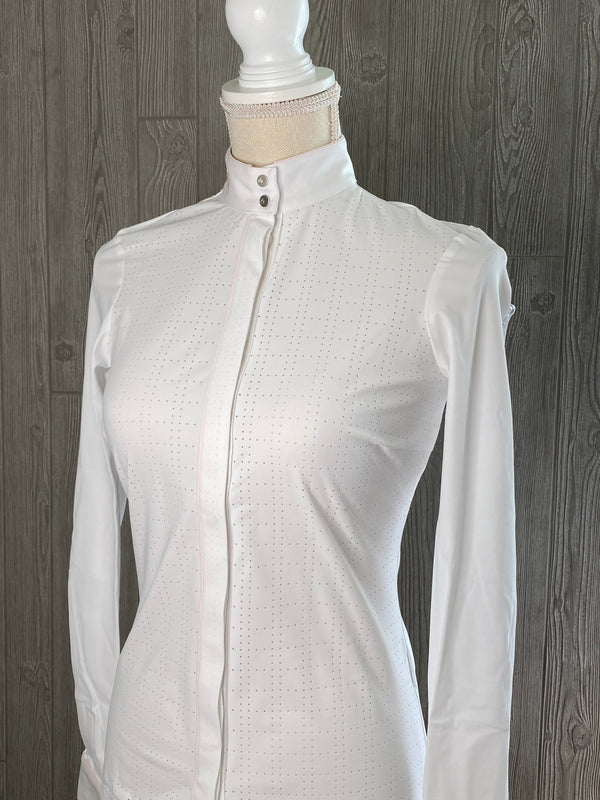 Cavalleria Toscana Perforated Competition Shirt with Piping, Long Sleeve