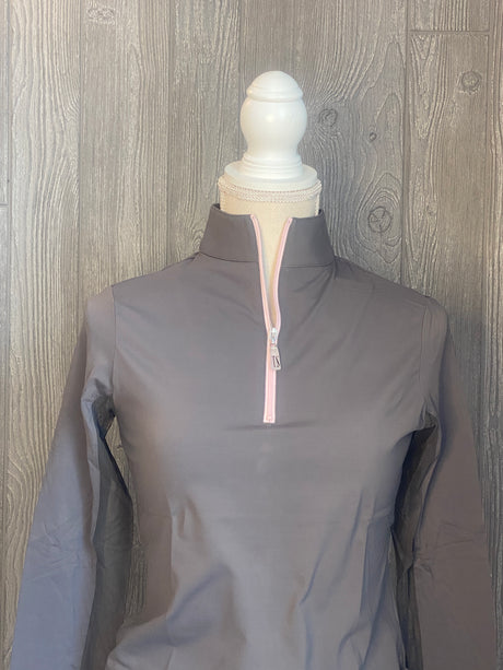 The Tailored Sportsman Ice-fill sun shirt LONG SLEEVE~Titanium with pink zipper