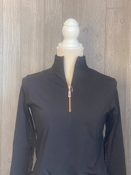 The Tailored Sportsman Ice-fill sun shirt LONG SLEEVE Black with ROSE GOLD zipper