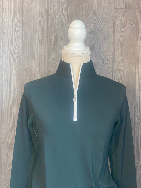 The Tailored Sportsman Ice-fill sun shirt LONG SLEEVE~Pine Green w/ white zipper