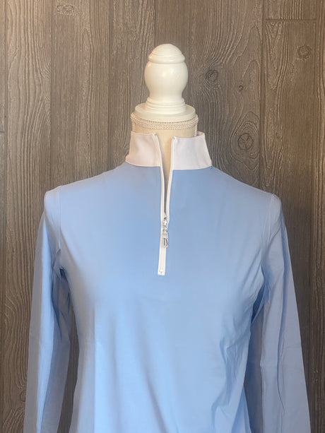 The Tailored Sportsman Ice-fill sun shirt LONG SLEEVE Arctic blue with white collar