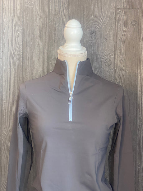 The Tailored Sportsman Ice-fill sun shirt LONG SLEEVE~Titanium with blue zipper