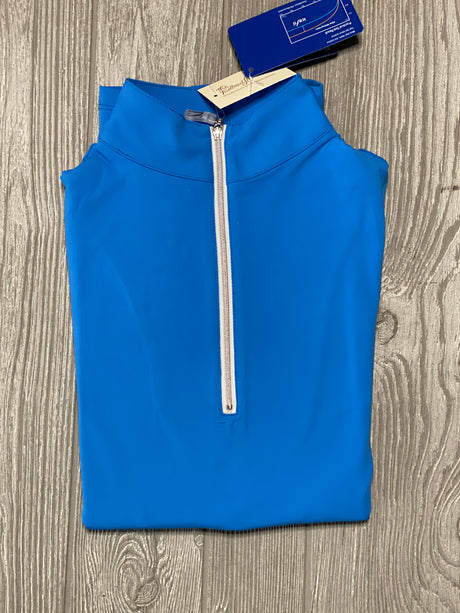 The Tailored Sportsman Ice Fill sun shirt ~ Azure with silver Zipper