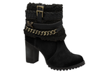 Black ankle suede bootie embelish fax fur