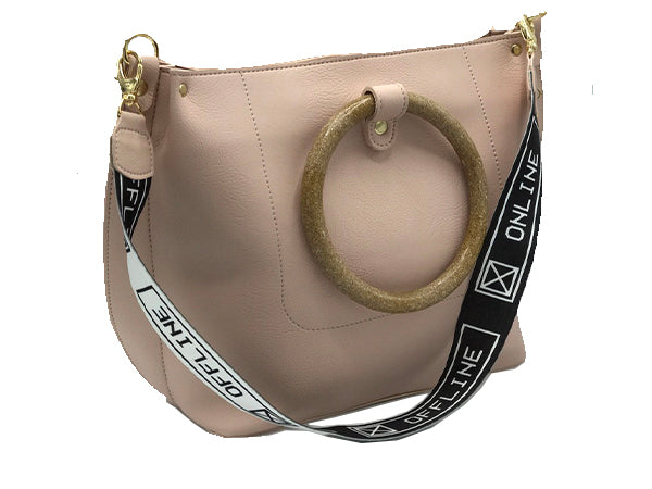 Calista Baby Pink Circular Top Handle Tote