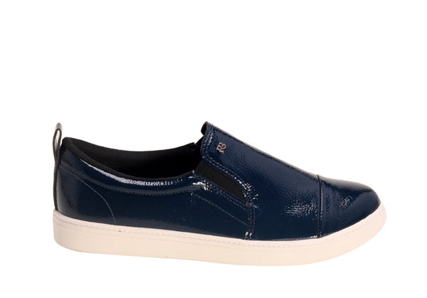 Navy Blue Patent Leather Slip-on Loafers | Women's Cocktail Sneaker