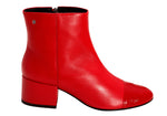 Verniz Red Leather Rounded Toe Ankle Bootie | women's medium heel