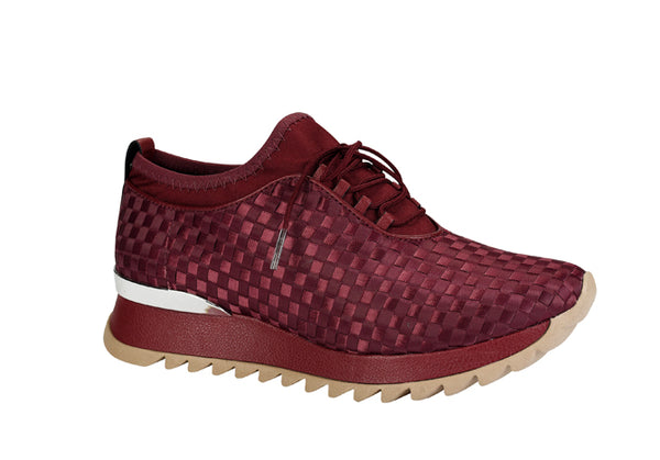 Zaine Burgundy Checkered Slip on sneaker | Fashion Women's Shoe
