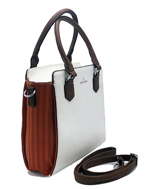 White and Orange Leather HandBag | Women's Exclusive Bags