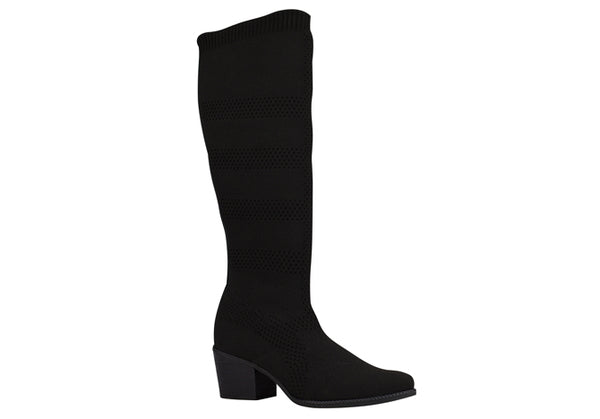 Black Knee High Mesh Boots T0946