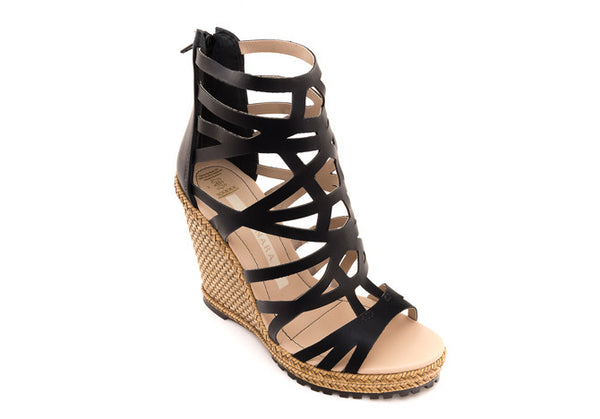 WEDGE SANDAL GARLAND BLACK - DPARZ