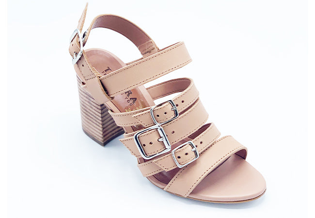 Blush Strappy Medium Block Heel Sandals | Peep Toe | Women's Shoes