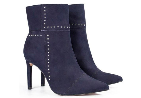 Liz Navy Blue Stiletto Ankle Bootie | women's high heels