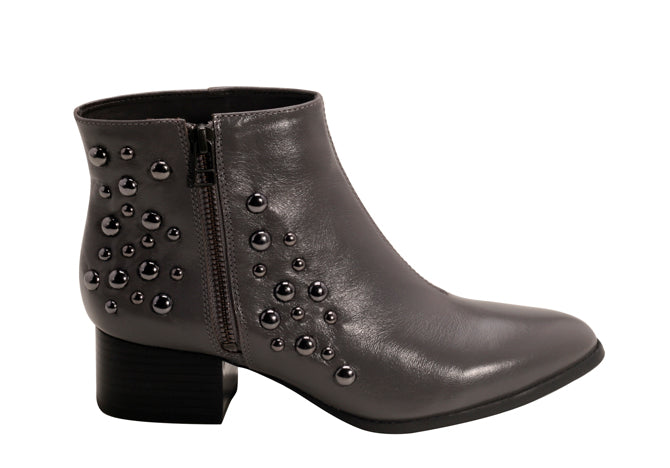 Napa Gray Beaded low heeled Ankle Bootie | women's low/medium heel