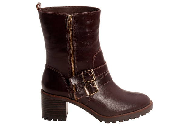 Napa Chocolate Tall Double Buckled Ankle Bootie | women's mid heel