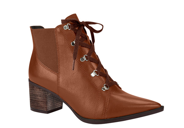 Guisto Caramel Pointy Toe Lace up Low Ankle Bootie | Brazilian Made