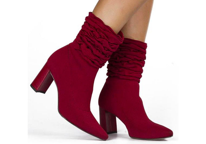 Malha Ruby Red tall Ruffled Ankle Bootie | fall 2018