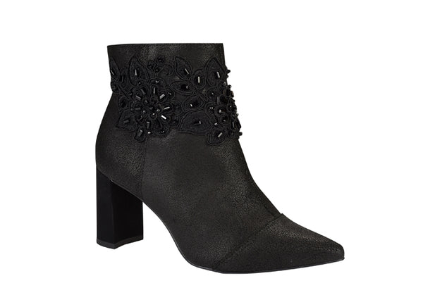 Palley black embroiled leather ankle bootie | women's medium heel